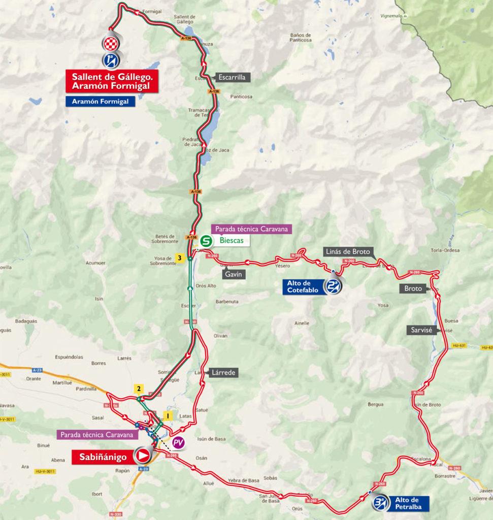 Karte der 15. Etappe der Vuelta 2016