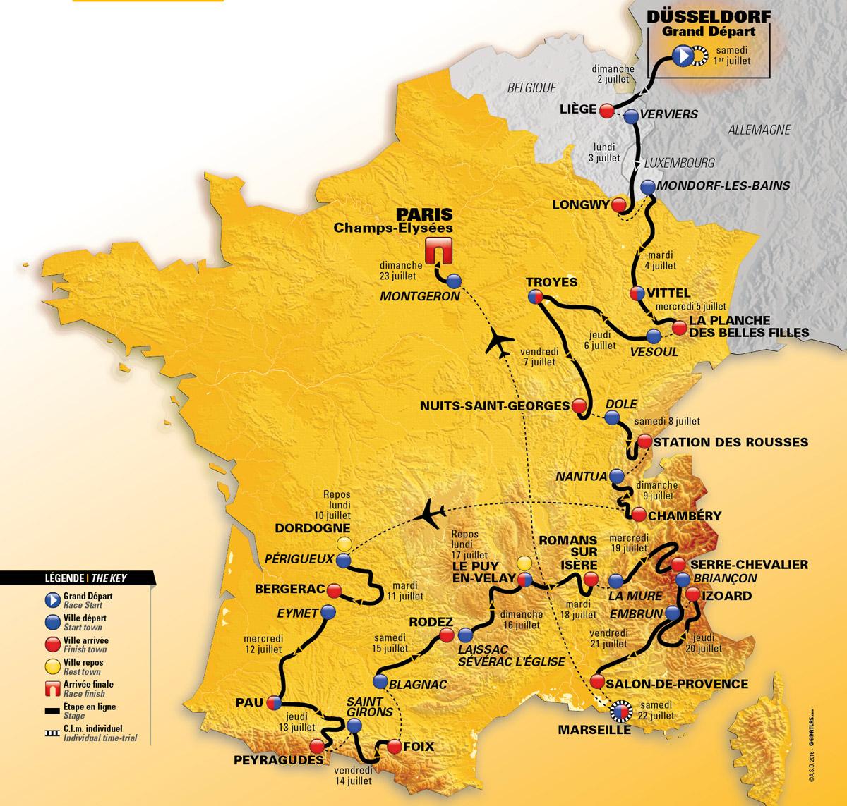 Tour De France 2017 Das Ist Die Strecke Der 104 Frankreich