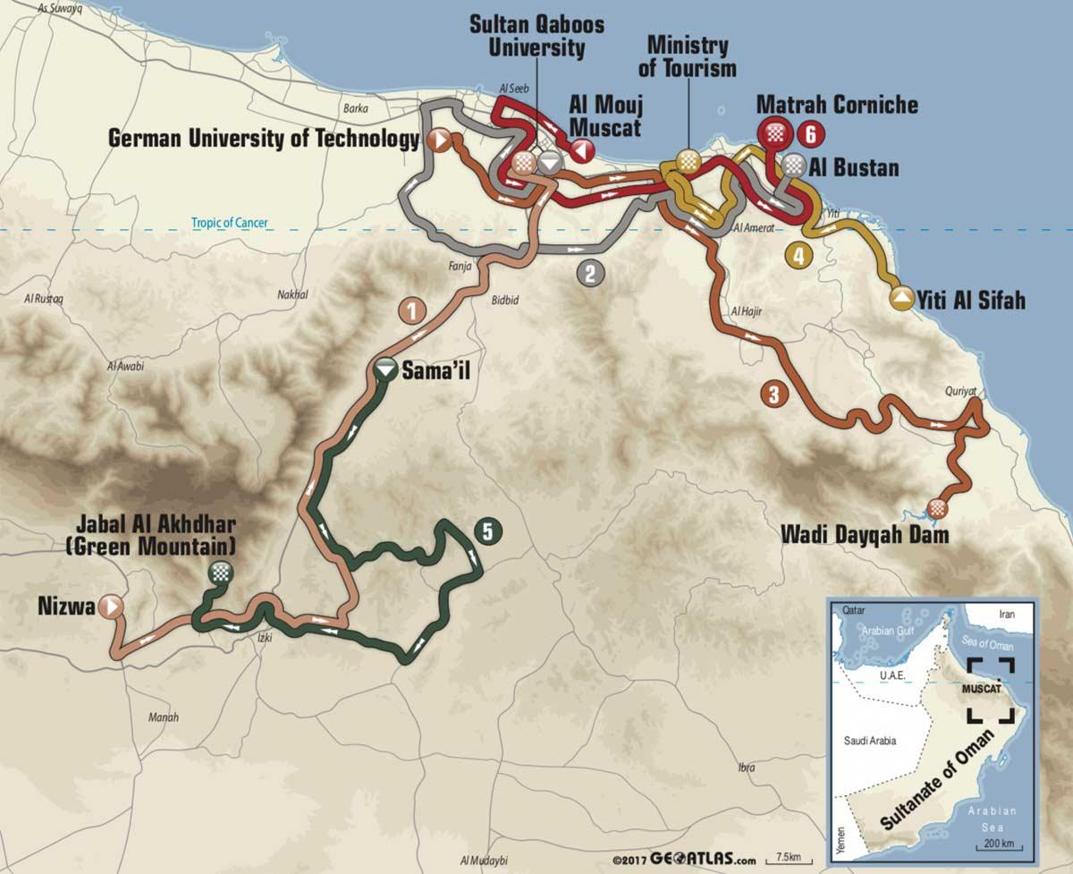 Karte Oman.Vorschau Etappen Profile Startliste Der Tour Of Oman 2018