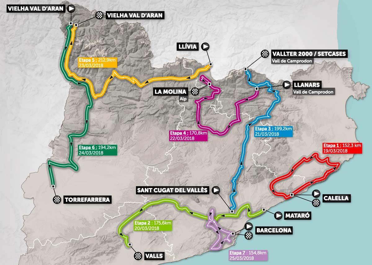 Spanien Katalonien Karte.Katalonien Rundfahrt 2018 Die Etappen Profile Der 98