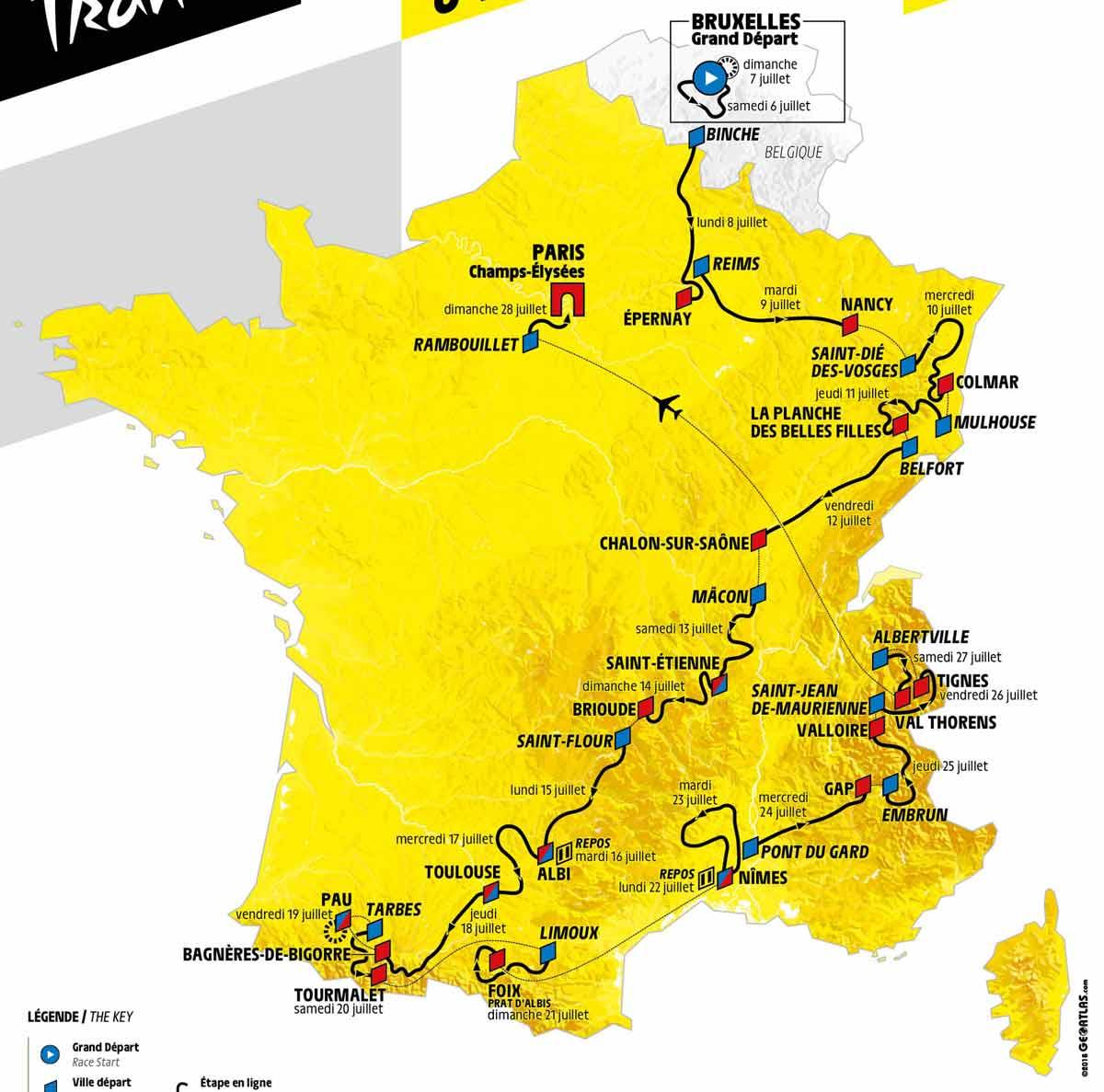 tour de france 2019 das ist die strecke der 106 frankreich rundfahrt cycling magazine. Black Bedroom Furniture Sets. Home Design Ideas