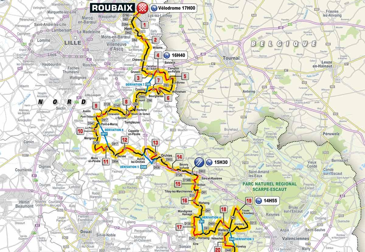 Karte Paris.54 5 Km Kopfsteinpflaster Strecke Und Sektoren Von Paris Roubaix